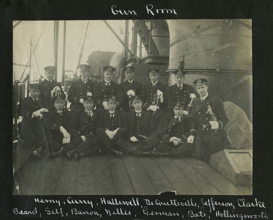 Group Photo– Members of the Gunroom, HMCS Niobe, Halifax, N.S. Taken 1910–1911.  Several of these young men went on to become important figures in the Royal Canadian Navy.  Stanley Nelson De Quetteville is shown standing, the third officer from the right in the back row.