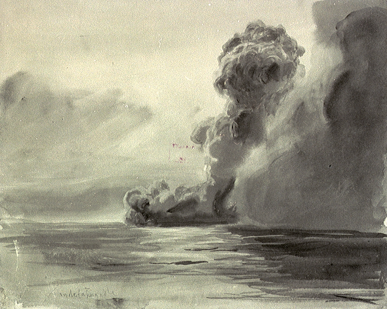 Painting– A painting by William Lionel Wyllie showing HMS Indefatigable exploding at the Battle of Jutland, 31 May 1916. Credit: National Maritime Museum, Greenwich, London, Caird Collection.