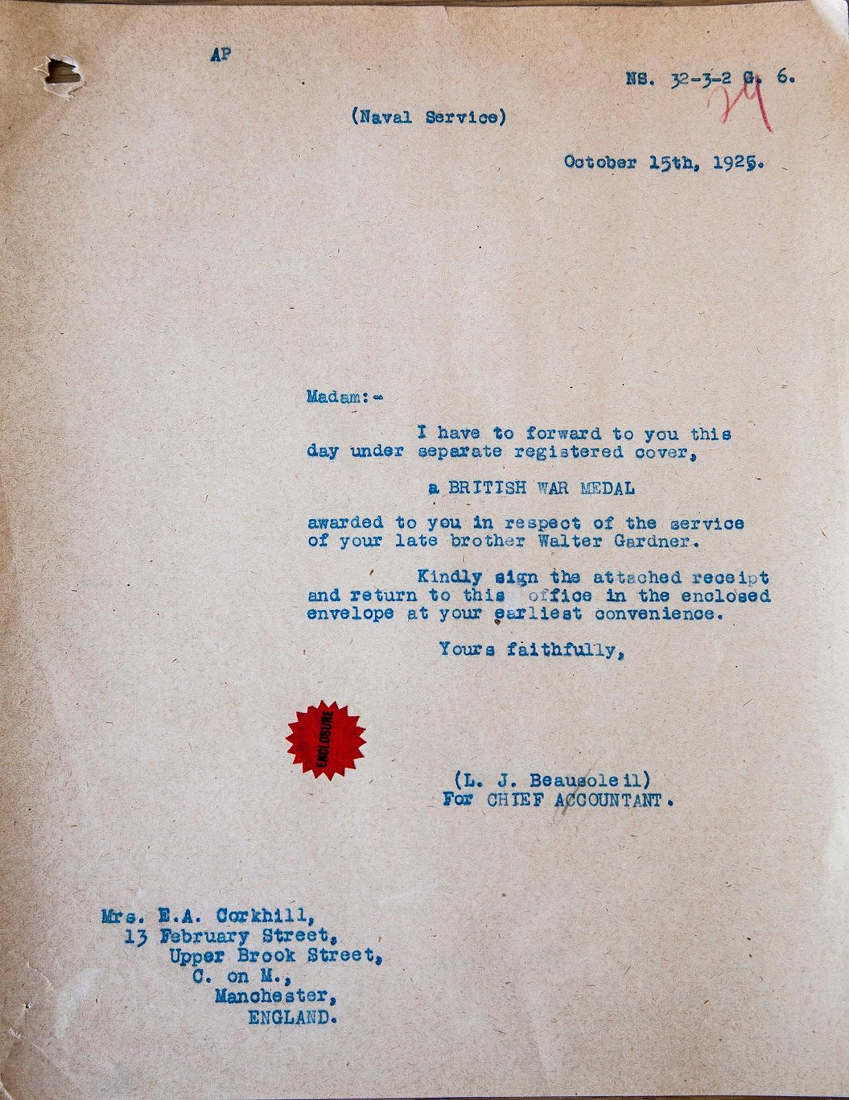 Letter– Letter accompanying Walter Gardner's World War I British War Medal (posthumously awarded).