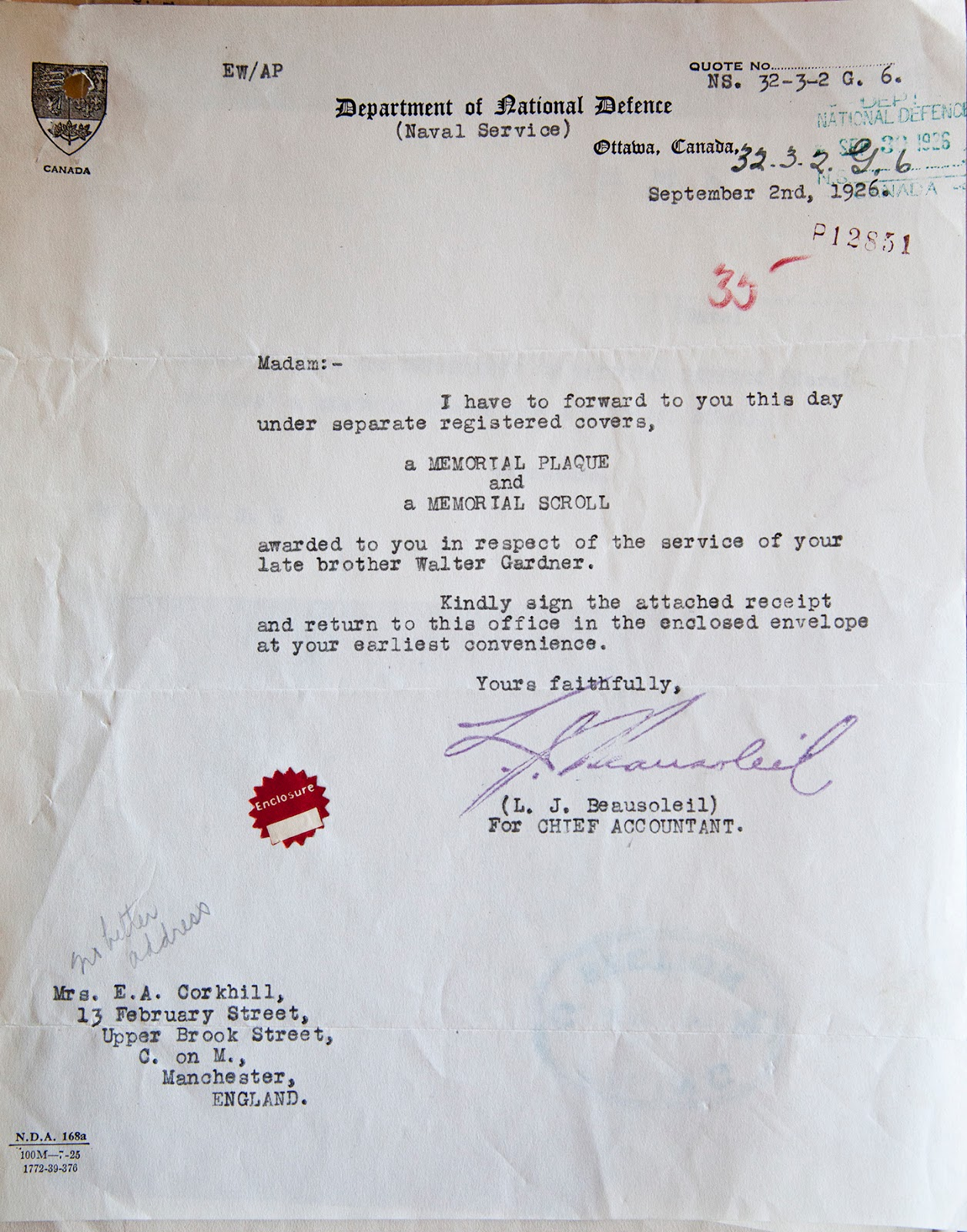 Letter– Letter accompanying Walter Gardner's memorial plaque and scroll.