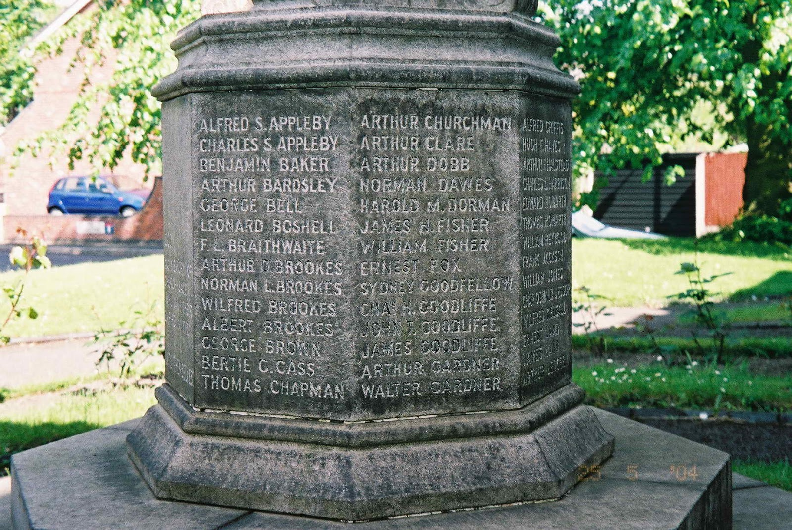 Inscription– A detailed view of the memorial at St. Anne's Church in Sale, Cheshire, United Kingdom showing Walter Gardner's name inscribed at bottom right.