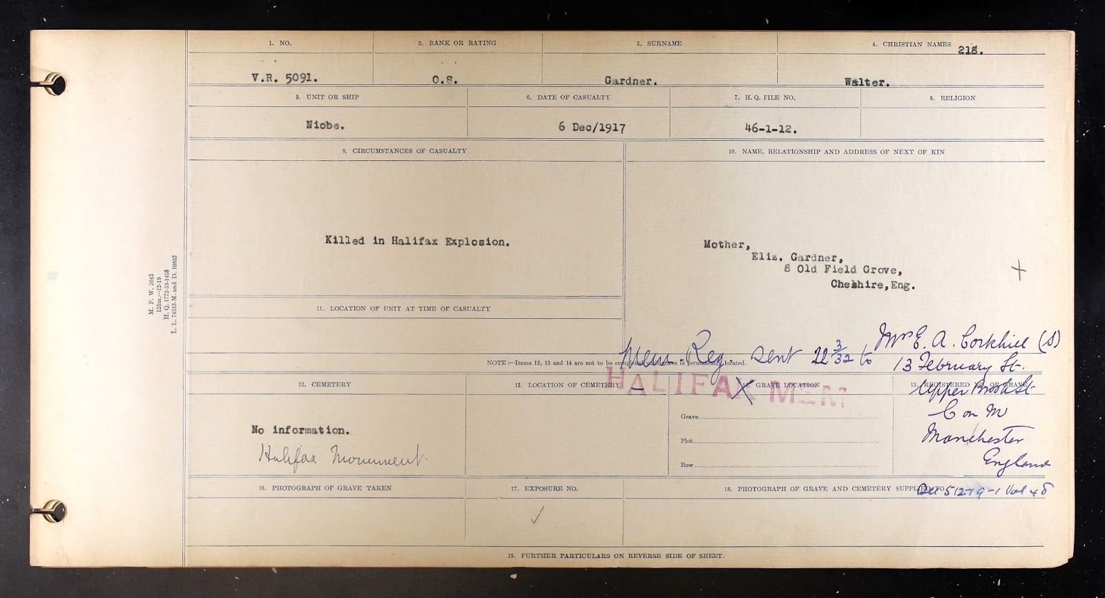 Circumstances of Death Registers– Casualty Form for Walter Gardner.