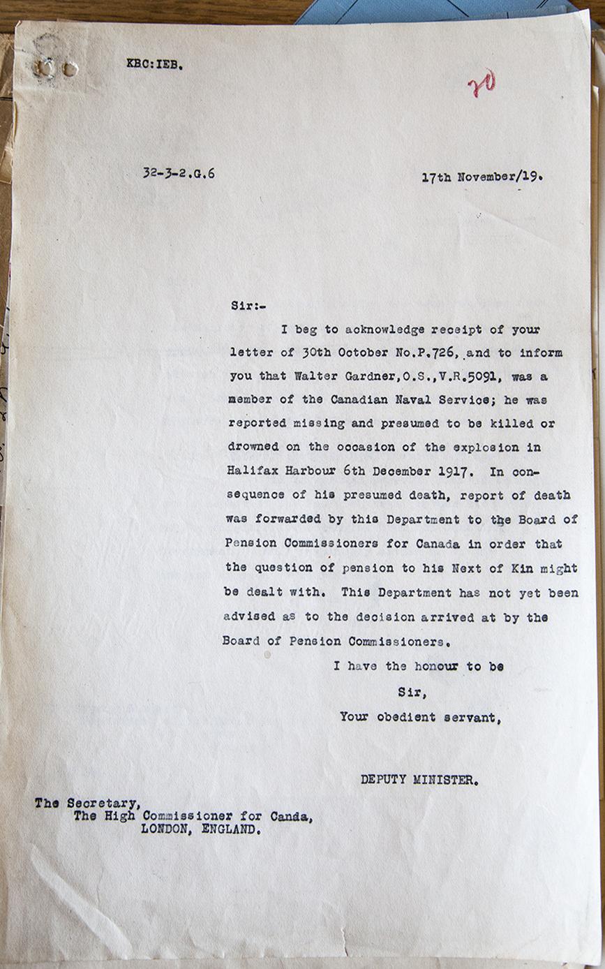 Letter– Certification of Death for Walter Gardner.