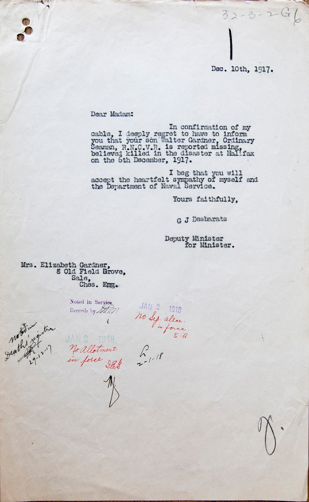 Letter– Death Notification for Walter Gardner.