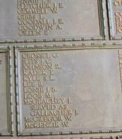 Memorial– His name as it is inscribed on the Tower Hill Memorial. The 480 fallen Canadians lost at sea, are honoured on this Memorial. May they never be forgotten. (J. Stephens