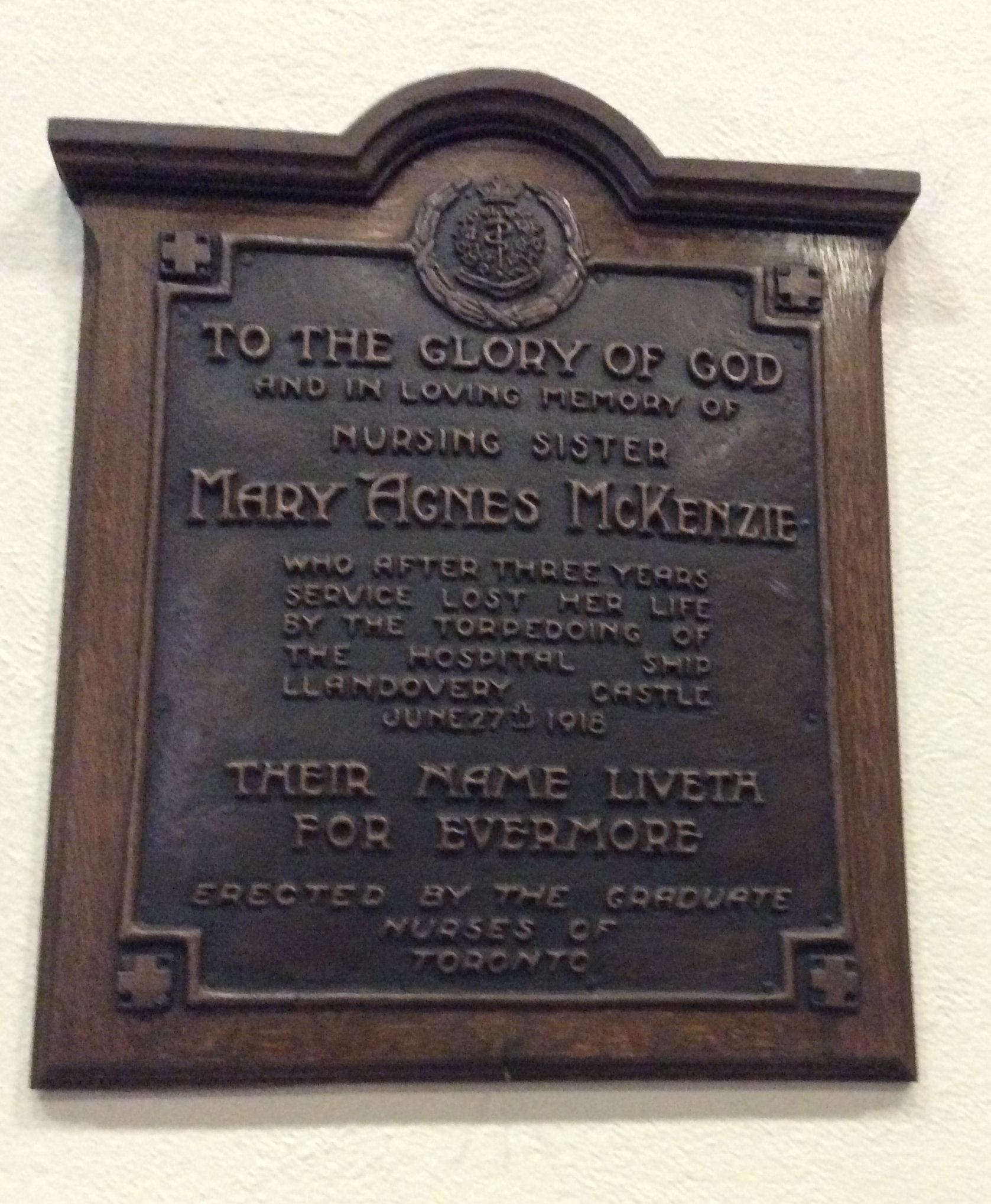 Memorial Plaque– This plaque is located in in the Calvin Presbyterian Church in Toronto, Ontario.