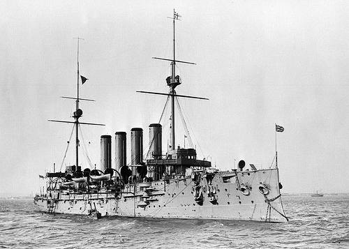 Photo– HMCS Niobe, the Diadem-class protected cruiser of the Royal Canadian Navy, in which Charles McMillan was serving as a Leading Seaman when he died in the Halifax Explosion on 6 December 1917.
