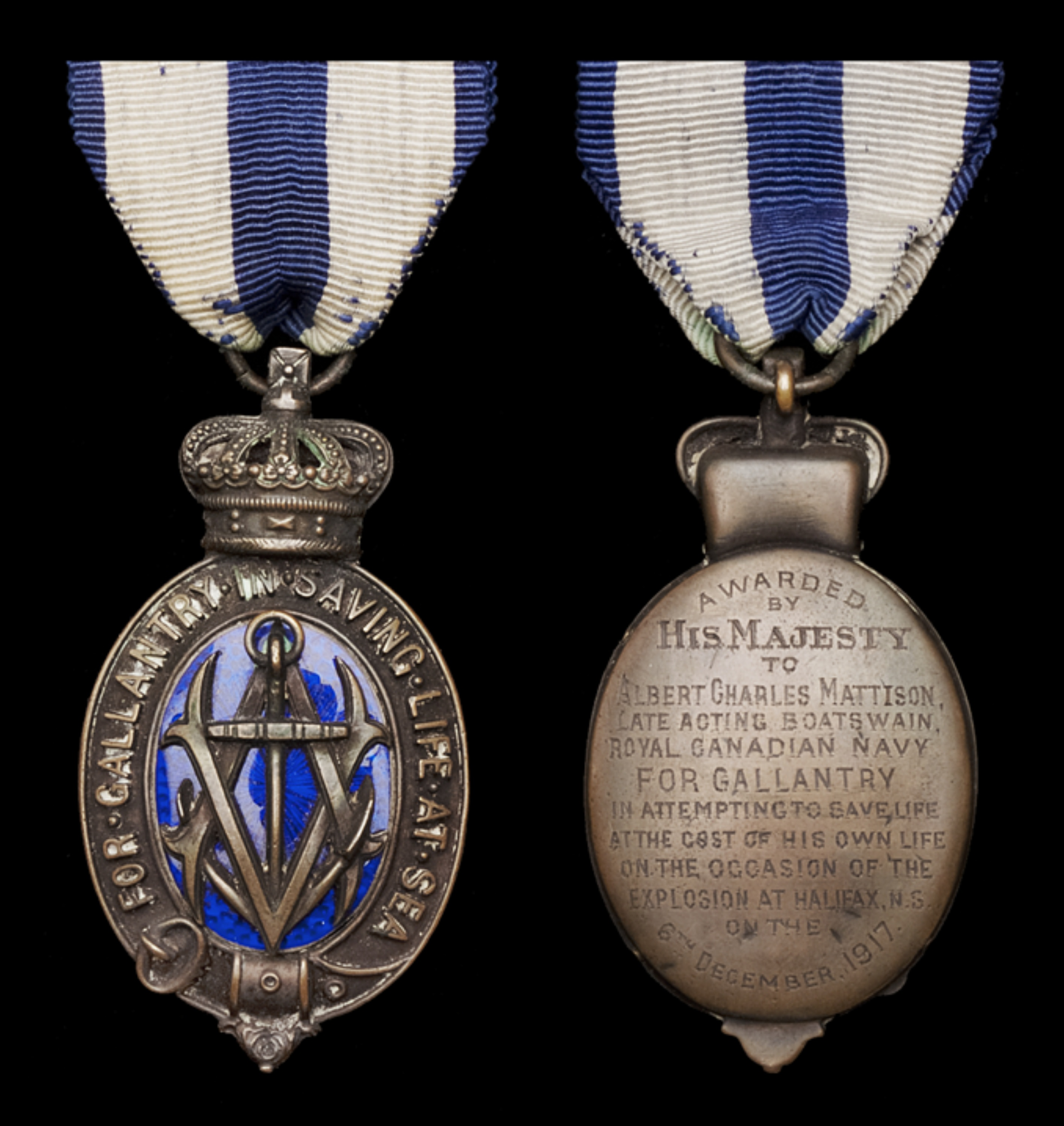 Albert Medal– The Albert Medal, 2nd Class, for Gallantry in Saving Life at Sea, bronze and enamel, reverse inscribed, 'Awarded by His Majesty to Albert Charles Mattison, late Acting Boatswain , Royal Canadian Navy, For Gallantry in attempting to save life at the cost of his own life on the occasion of the explosion at Halifax, N.S. on the 6th December 1917.'  The medal was awarded posthumously to Mattison's widow on 18 February 1919; it is currently held by the Canadian War Museum in Ottawa.