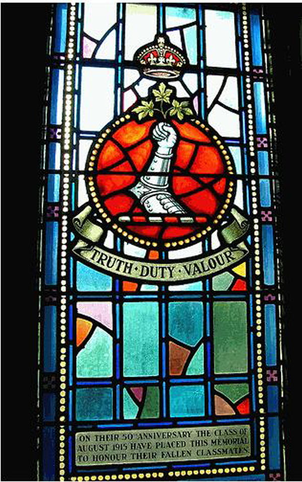 Memorial Stained Glass– Ex-cadets are named on the Memorial Arch at the Royal Military College of Canada in Kingston, Ontario and in memorial stained glass windows to fallen comrades.  57 Lt Col Henry Smith Greenwood (RMC 1882) was the son of H. and E. Greenwood, of Elginburg, Ontario, Canada. He was the husband of H. S. Greenwood, of 9, Victoria Rd., Kensington, London. He died on May 4, 1916. He was buried in the Brookwood Cemetery (The London Necropolis). His name is listed on the Memorial Arch at the Royal Military College of Canada.