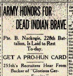 Newspaper Clipping– This article includes information indicating that Pte. Nackogie was buried in Toronto at Prospect Cemetery.  Nackogie died at the Military Base Hospital, Gerrard Street, Toronto.