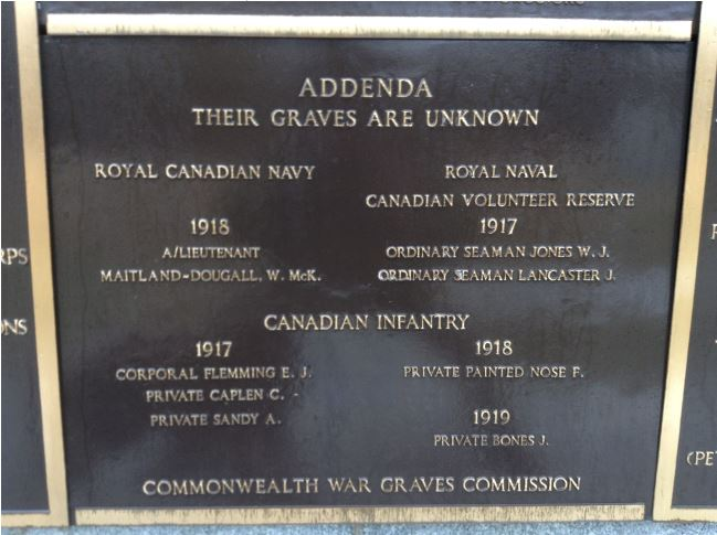 Memorial– The panel on the Halifax Memorial at Point Pleasant, in Halifax, Nova Scotia, Canada on which Francois Painted Nose's name is inscribed.