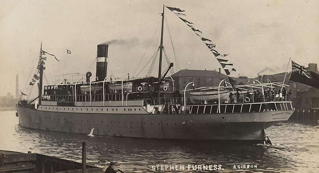 Photo– SS Stephen Furness, built by Irvine's Shipbuilding & Drydock Co. Ltd., West Hartlepool in 1910 and operated at the time of her loss by Royal Navy, was a British passenger ship of 1,712 tons, used as an armed boarding cruiser.   On 13 December 1917, Stephen Furness, on her way from Lerwick to Liverpool for repairs, was torpedoed and sunk by the German submarine UB-64 15 miles NorthWest of Contrary Head, Isle of Man.  Struck by a torpedo on the starboard side between the bridge and the funnel, she started sinking quickly and before the life boats could be lowered, she suddenly went down. 101 persons were lost, including William Franklyn Romans, who was serving on board as an Able Seaman at the time..