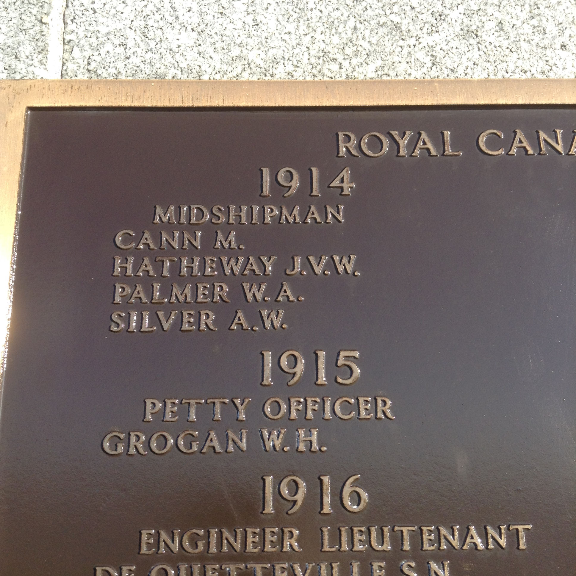 Inscription– Close-up of Arthur Wiltshire Silver's name inscribed on the the Halifax Memorial. Image taken 4 November 2017 by Tom Tulloch.