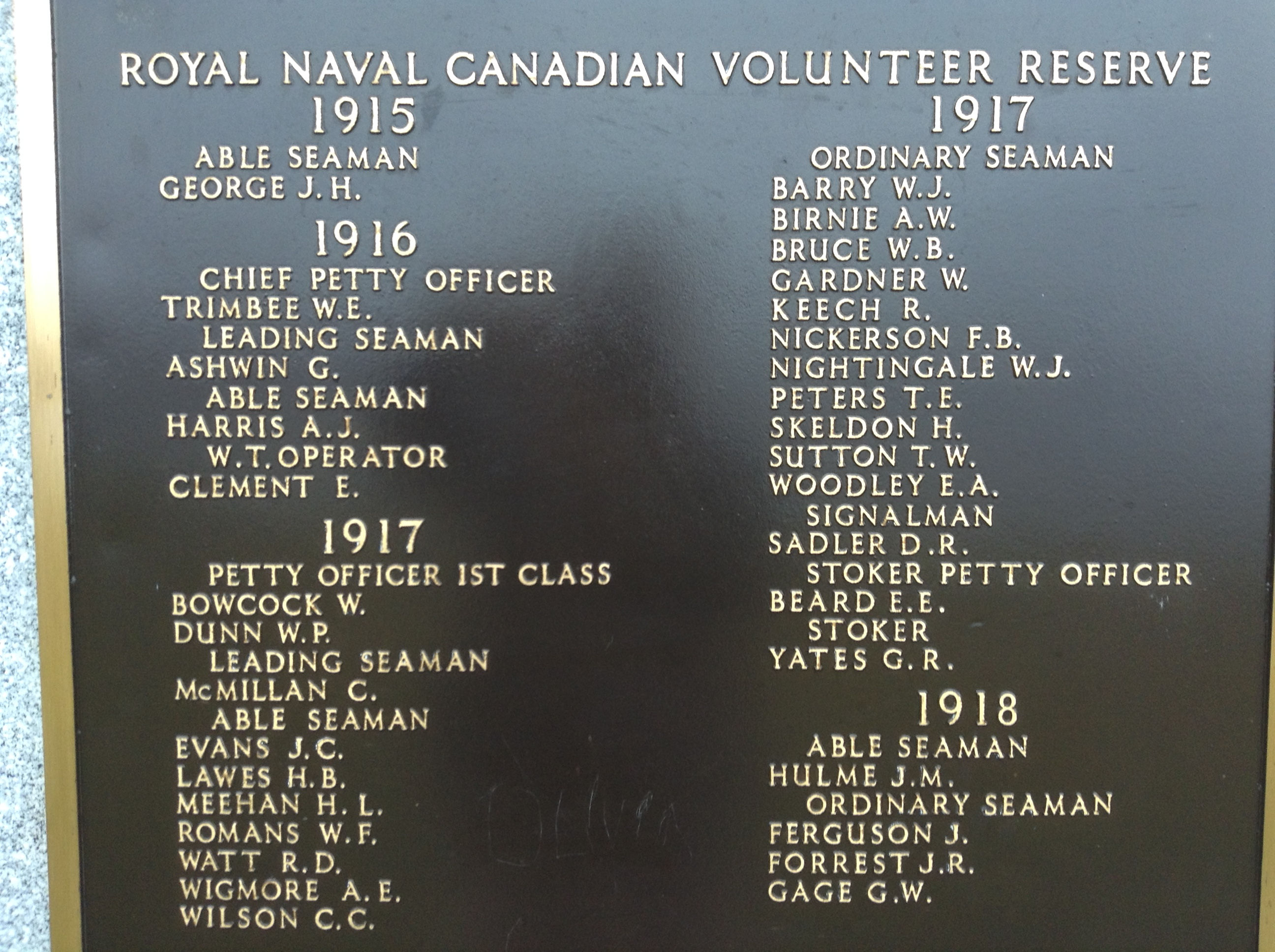 Memorial– The panel with Walter Trimbee's name inscribed, on the Halifax Memorial at Point Pleasant in in Halifax, Nova Scotia. Image taken 25 November 2017 by Tom Tulloch.