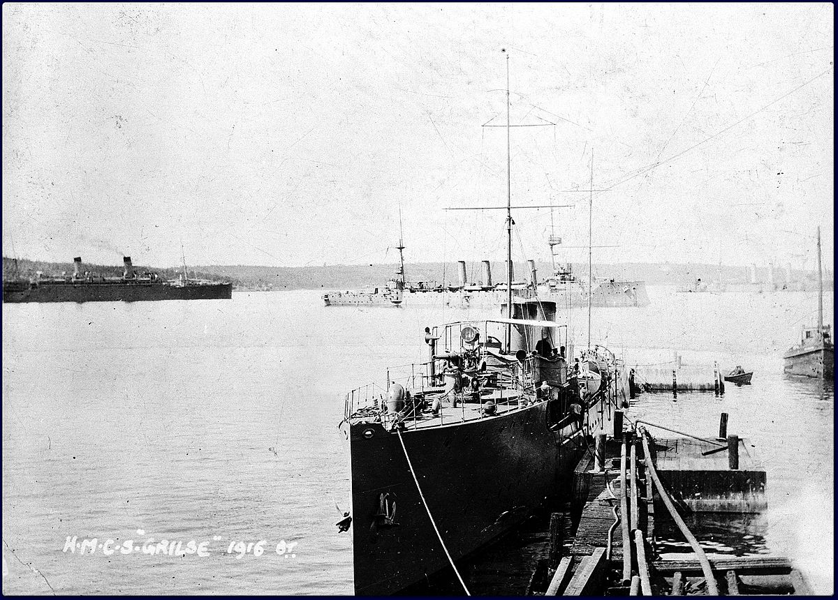 HMCS Grilse– The Royal Canadian Navy patrol boat HMCS Grilse shown alongside in Halifax in 1916.  Formerly the yacht Winchester, Grilse was acquired by the RCN in 1915 and was used for patrolling the Atlantic approaches to Canada during World War I.  Robert Wilkinson was serving in Grilse as an Artificer Engineer when the ship encountered heavy weather after leaving Halifax in December 1916.  He was drowned along with five other sailors when they were swept overboard during a storm on 12 December 1916.