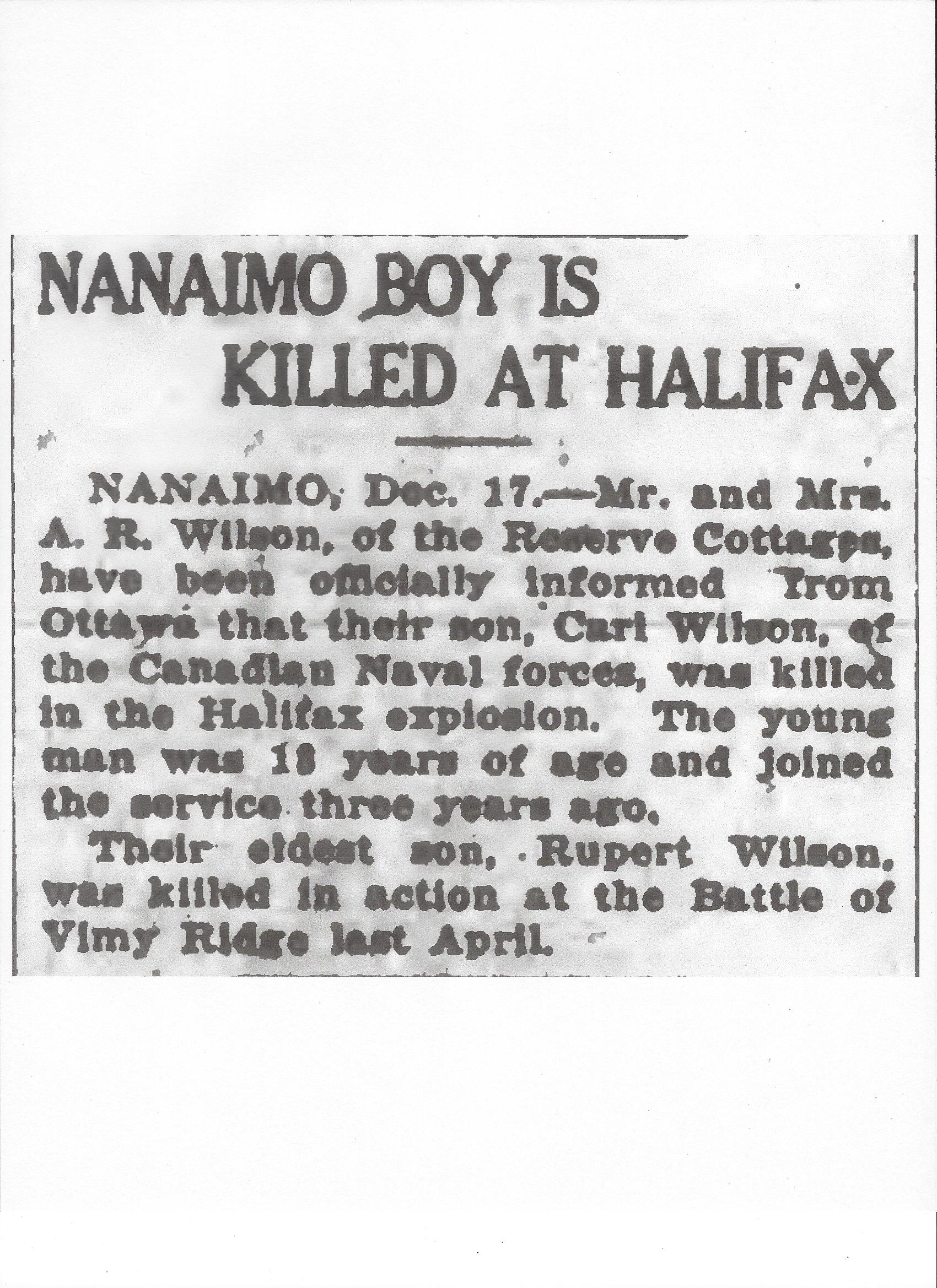 Newspaper Clipping– Newspaper clipping from the Daily Colonist of December 18, 1917. Image taken from web address of http://archive.org/stream/dailycolonist59by321uvic#page/n0/mode/1up