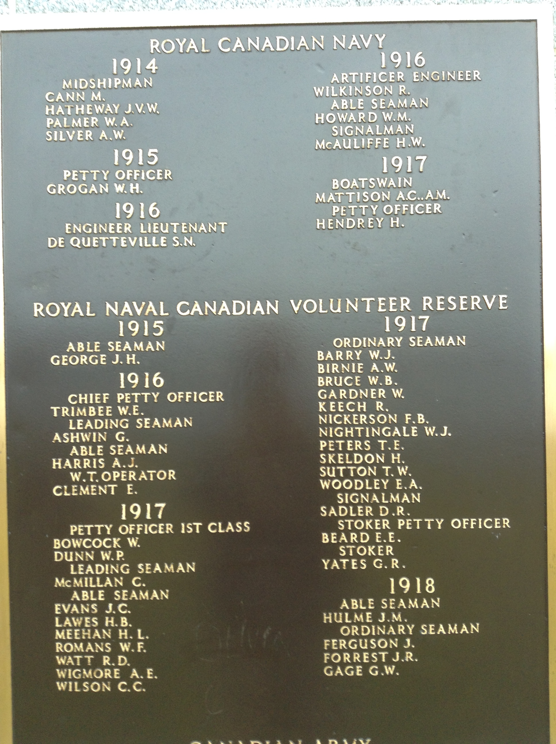 Memorial– The panel on the Halifax Memorial at Point Pleasant in Halifax, Nova Scotia, Canada whereon George Roley Yates' name is inscribed.