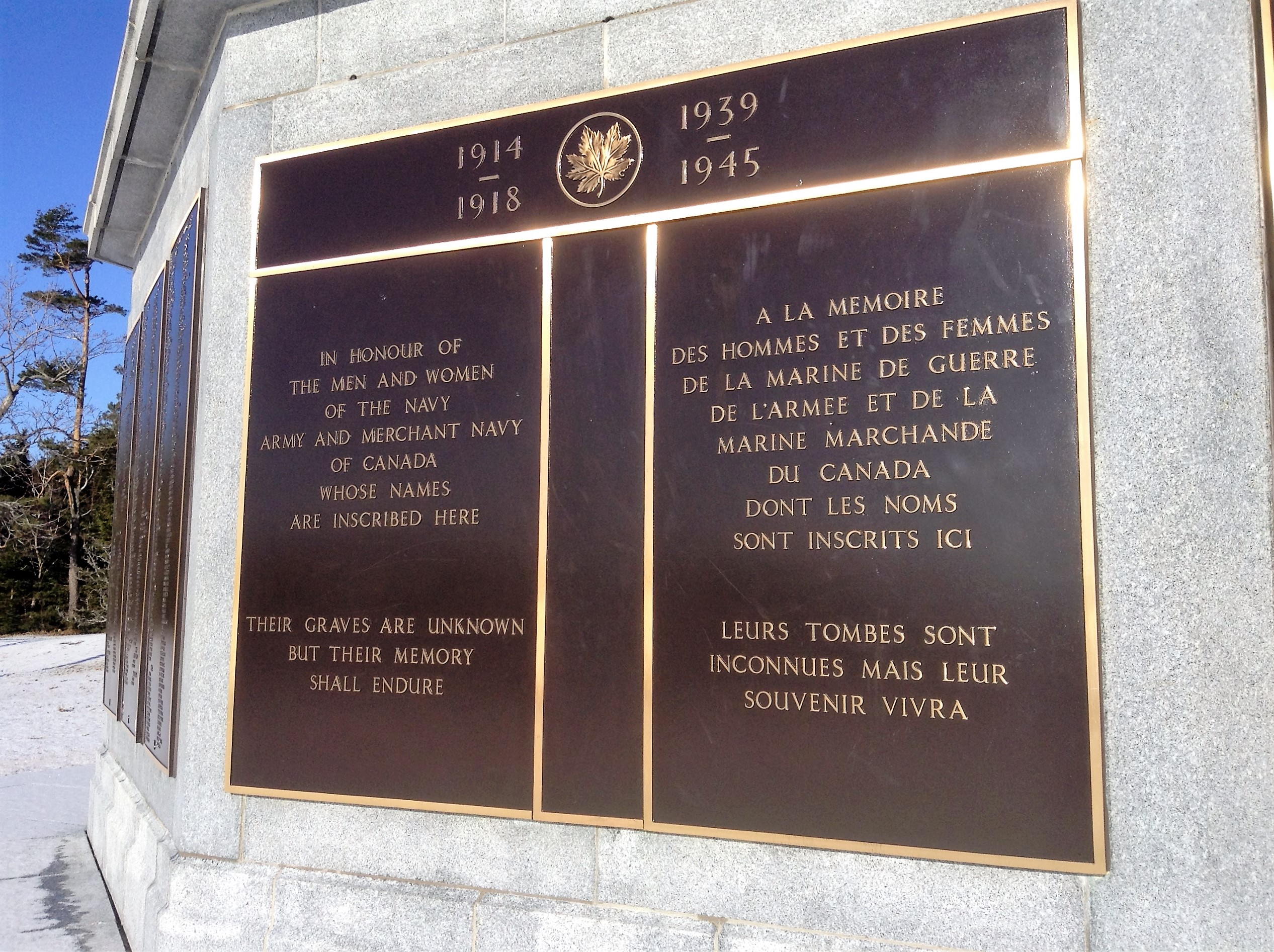 Dedication Panel– The dedication panel on the Halifax Memorial at Point Pleasant in Halifax, Nova Scotia, Canada, where William McKinstry Maitland-Dougall's name is inscribed. Image taken 9 February 2018 by Tom Tulloch.