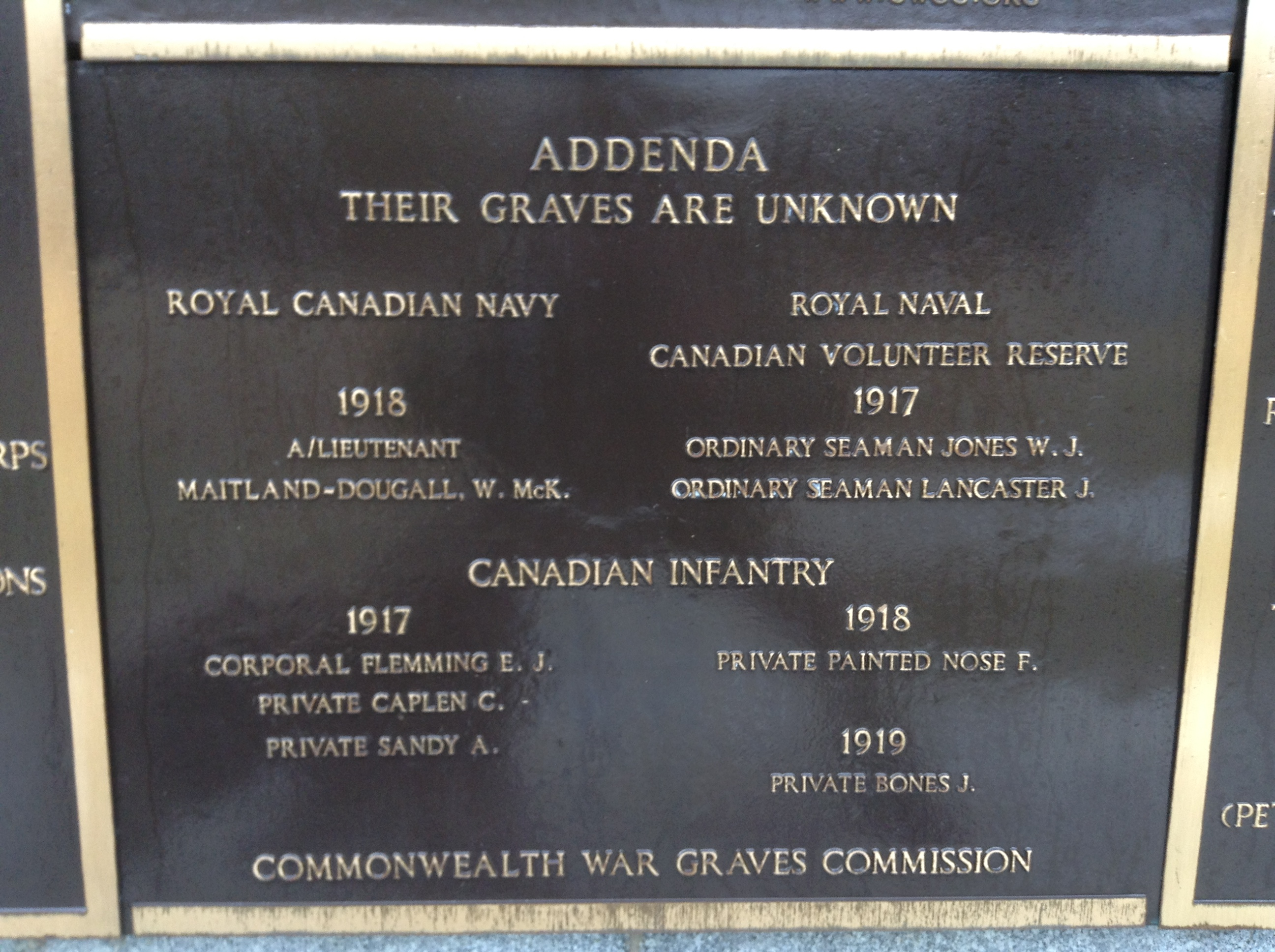 Memorial– The panel on the Halifax Memorial at Point Pleasant in Halifax, Nova Scotia, Canada on which William McKinstry Maitland-Dougall's name is inscribed. Image taken 9 February 2018 by Tom Tulloch.