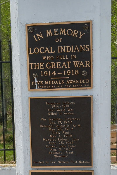 Memorial– Indian Memorial on Mount McKay, Thunder Bay, ON - May 2018 … photo courtesy of Marg Liessens