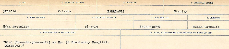 Circumstances of Death– Source: Library and Archives Canada.  CIRCUMSTANCES OF DEATH REGISTERS, FIRST WORLD WAR Surnames:  Bark to Bazinet. Mircoform Sequence 6; Volume Number 31829_B016716. Reference RG150, 1992-93/314, 150.  Page 463 of 1058.