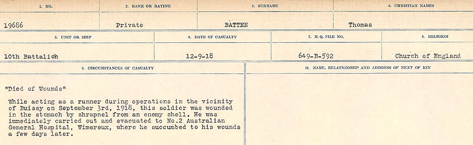 Circumstances of Death Registers– Source: Library and Archives Canada.  CIRCUMSTANCES OF DEATH REGISTERS, FIRST WORLD WAR Surnames:  Bark to Bazinet. Mircoform Sequence 6; Volume Number 31829_B016716. Reference RG150, 1992-93/314, 150.  Page 901 of 1058.