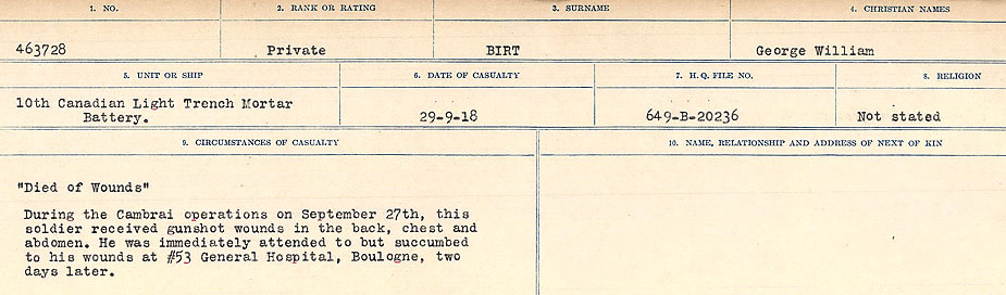 Circumstances of Death Registers– Source: Library and Archives Canada.  CIRCUMSTANCES OF DEATH REGISTERS FIRST WORLD WAR Surnames: Birch to Blakstad. Mircoform Sequence 10; Volume Number 31829_B034746; Reference RG150, 1992-93/314, 154 Page 153 of 734