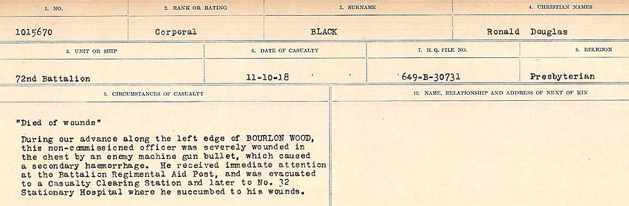Circumstances of Death Registers– Source: Library and Archives Canada.  CIRCUMSTANCES OF DEATH REGISTERS FIRST WORLD WAR Surnames: Birch to Blakstad. Mircoform Sequence 10; Volume Number 31829_B034746; Reference RG150, 1992-93/314, 154 Page 397 of 734