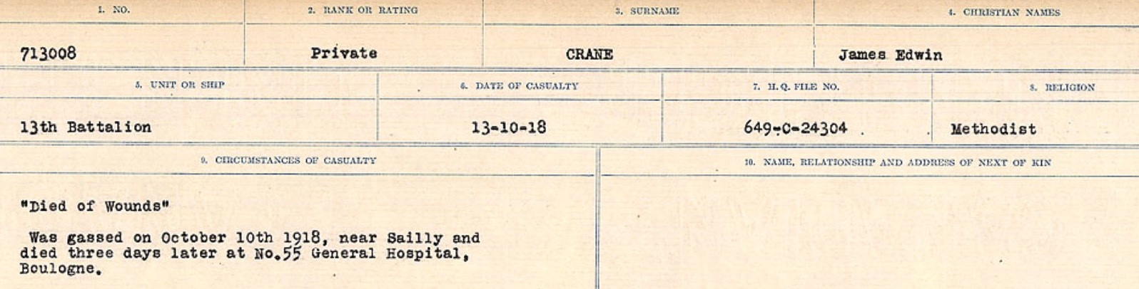 Circumstances of death registers– Source: Library and Archives Canada. CIRCUMSTANCES OF DEATH REGISTERS, FIRST WORLD WAR Surnames: CRABB TO CROSSLAND Microform Sequence 24; Volume Number 31829_B016733. Reference RG150, 1992-93/314, 168. Page 223 of 788.
