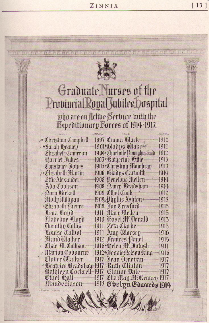 The Royal Jubilee Hospital School of Nursing Memorial Scroll