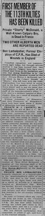 Newspaper article– The Calgary Daily Herald 13 January 1917