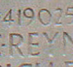 Inscription– His name as it is inscribed on the Vimy Memorial (2010). May he never be forgotten. (J. Stephens)