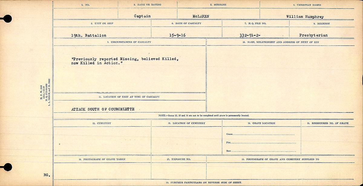 Circumstances of Death Registers– Circumstances of death card. This card explains the circumstances of William Humphrey McLaren's death.