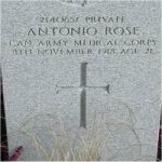 """Grave Marker– Grave of 2140657 Pvt Antonia Rose (Moniquile) who served with the Canadian Army Medical Corps C.E.F. Born Antonio Moniquile in Civeta Nova Dela Sagna Italy on March 15th 1897. He was drafted into the C.E.F. at Victoria BC on Aug. 7th 1918 he listed his occupation as """"Laborer""""  Antonio died during the Spanish flu panademic of 1918-19 on Nov. 8th 1918 at the age of 21.  He was laid to rest in the Mountain View cemetery of Vancouver BC."""
