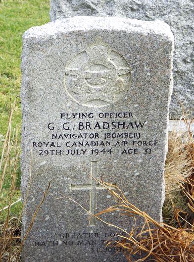 Photo of GEORGE GORDON BRADSHAW– The gravestone of Pilot Officer George Bradshaw at Lerwick cemetery, Shetland