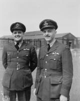 Photo of David Ernest Hornell– 22/06/44 162 SQN Shown above are two captains of the Canso Flying Boats operating in 162 SQN RCAF Squadron against German submarines in the North Atlantic. On the left is F/O Denny Denomy, Chatham, Ontario, on the right is F/L David Hornell of Mimico, Ontario