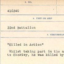 Registres de circonstances du décès – Circonstance du décès de Thomas Pariseau. Extrait de son dossier militaire conservé à Bibliothèque et Archives Canada.
