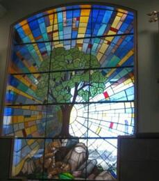 Memorial Stained Glass– Beechwood National Military Cemetery Hall of Colours Military Chaplains stained glass window