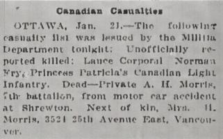 Newspaper clipping– From the Daily Colonist of January 22, 1915. Image taken from web address of https://archive.org/stream/dailycolonist57y37uvic#mode/1up