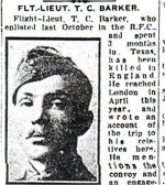Newspaper Clipping– Flight-Lieutenant Barker's name was misspelled in this article.