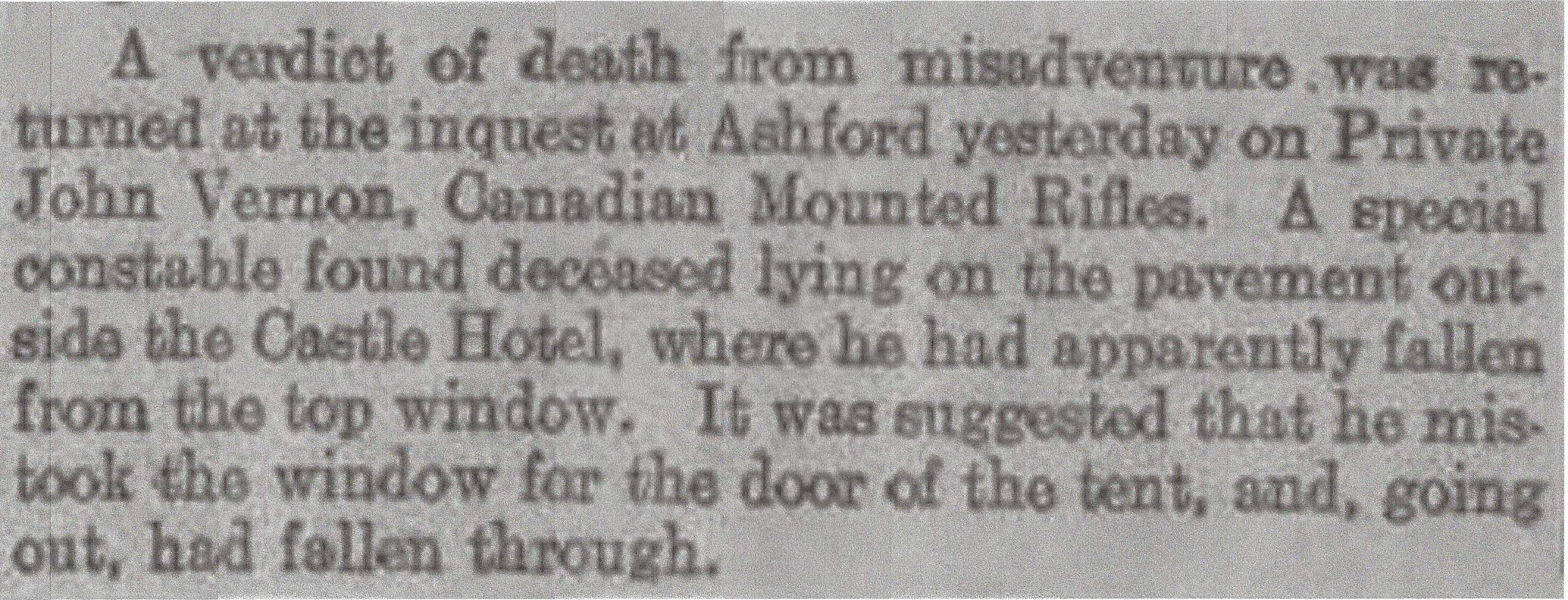 Newspaper Clipping– Newspaper clipping from Daily Telegraph of October 13, 1915. Image taken from web address of http://www.telegraph.co.uk/news/ww1-archive/11922630/Daily-Telegraph-October-13-1915.html
