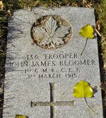 Grave Marker– John James Bloomer's grave marker