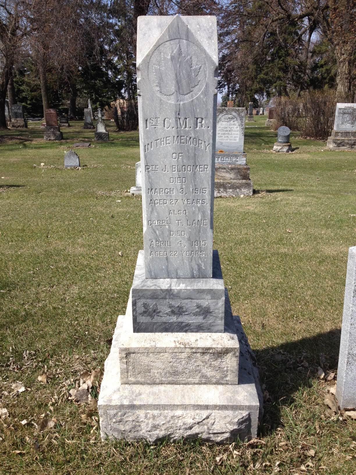 Original Gravemarker– Original grave marker for Pte Bloomer at the Brandon Municipal Cemetery (Brandon, MB, Canada), Section 16 Block C Plot 24