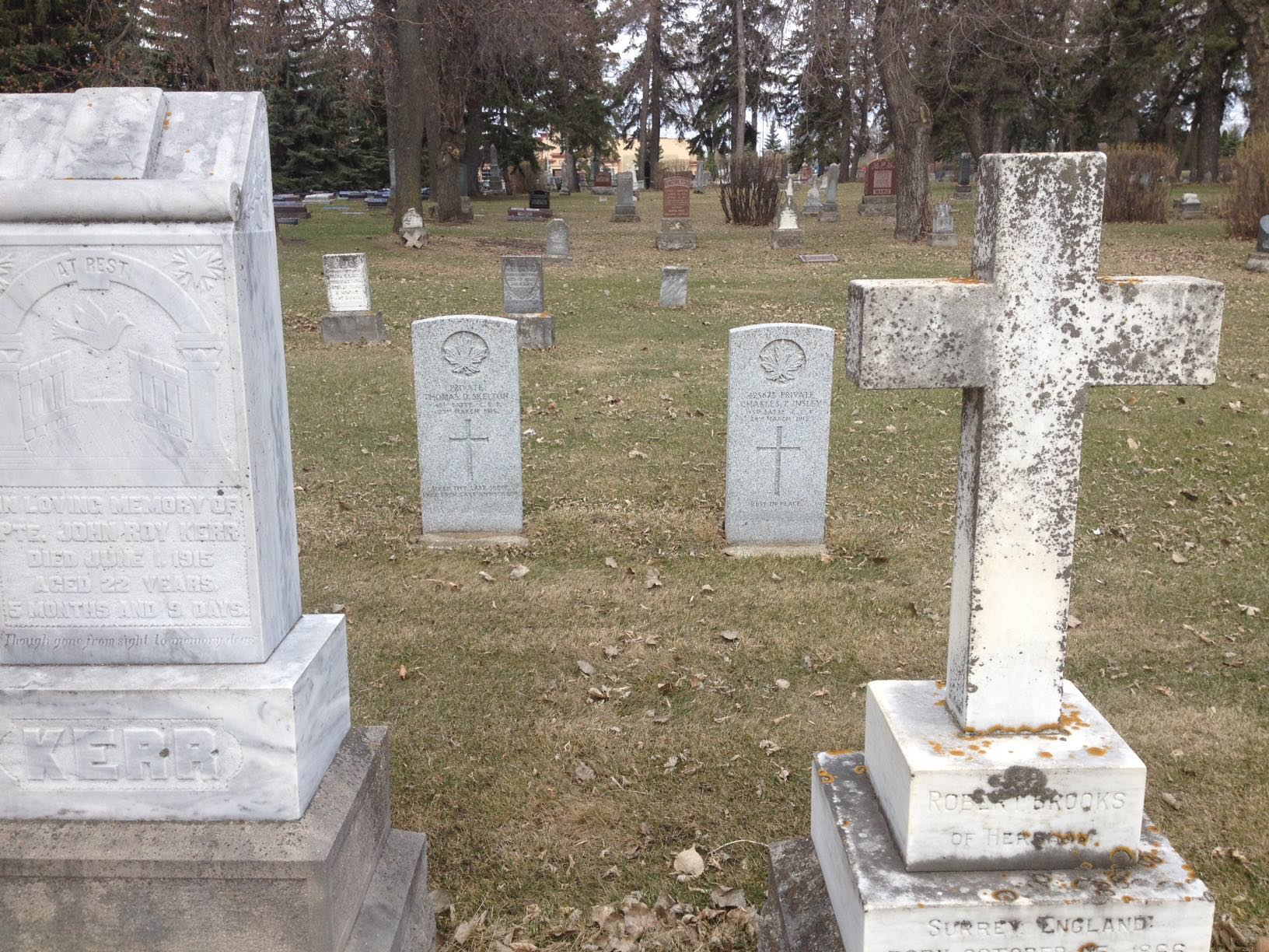 Grave marker– Private Skelton and Private Insley were buried side-by-side in the Brandon Municipal Cemetery (Brandon, Manitoba, Canada). The soldiers had a double military funeral - the first ever held in the city according to the Brandon Daily Sun (26 March 1915).  Both men were members of the 45th Battalion and had succumbed to pneumonia.