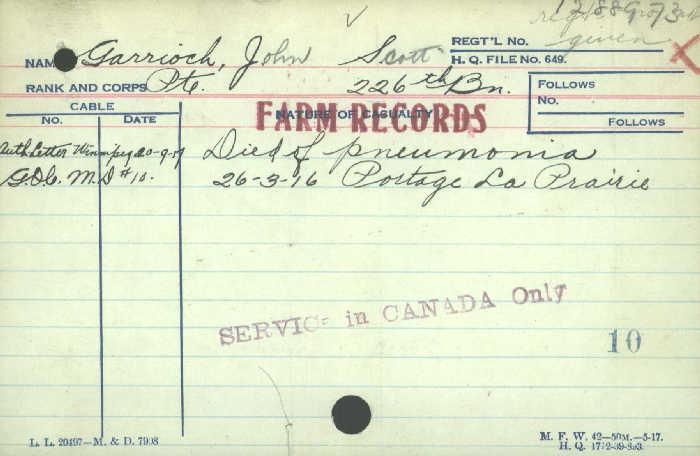 Death Certificate– Private John Scott Garrioch -  Canadian Infantry (Quebec Regiment) 226th Bn.   Son of Alfred C. and Agnes Bertha Garrioch, of Portage la Prairie, Manitoba. Died of pneumonia in Portage La Prairie.    http://www.collectionscanada.gc.ca/microform-digitization/006003-119.01-e.php?PHPSESSID=eo3hb5ee37gfi8ijliuqdh90d5&sqn=800&q2=36&q3=2872&tt=1203