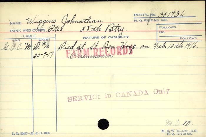 Circumstances of Death Registers– Bombardier Jonathan Wiggins -  Canadian Artillery 38th Bty. Son of David Wiggins, of 32 High St., Penarth, Wales, and the late Jessie Wiggins. Wiggins died in Military District 10 at St Bon. Hospital of pneumonia. 