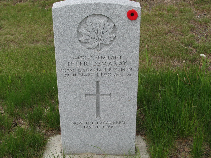 Grave marker– Sgt. Peter Demaray's Headstone.  Peter was wounded by shrapnel in the right shoulder at Vimy Ridge May 25, 1917.