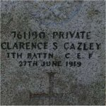 Photo 2 of Grave Marker– Grave of 761190 Pvt. Clarence S. Gazley 7th Battn. C.E.F.  Died June 27th 1919 Laid to rest in the Upper Sumas (Musselwhite) Cemetery  Abbotsford BC Canada.