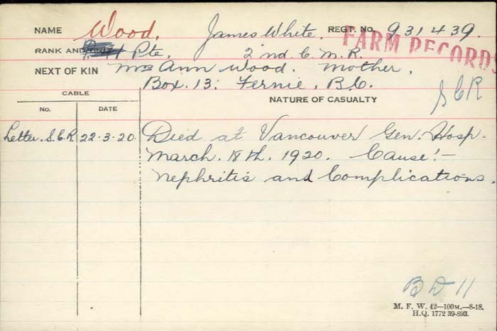 Circumstances of death registers– Died at Vancouver General Hospital Mart 18th 1920. Cause Nephritis (Inflammation of the kidneys) and Complications BD11 http://www.collectionscanada.gc.ca/microform-digitization/006003-119.01-e.php?q2=36&q3=2938&sqn=837&tt=1376&PHPSESSID=s0q3anjdk7jkmtugqfthggg0aq7vgvf65amte2batg0e5h28uos0