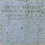 """Grave Marker– Grave of 298032 Sgt. Thomas John Campbell who served with the 224th Battn. Canadian Forestry Corps C.E.F. Born in Glengarry Ontario on Feb. 2nd 1875. Thomas enlisted into the C.E.F. at Montreal Quebec on March 22nd 1916, he listed prior military service of 1 year with the 59th Regt. Canadian Militia, he listed his occupation as """"Lumber Jack""""  Thomas died at Vancouver BC on April 11th 1920 at the age of 45.  He was laid to rest in the Mountain View cemetery of Vancouver BC."""